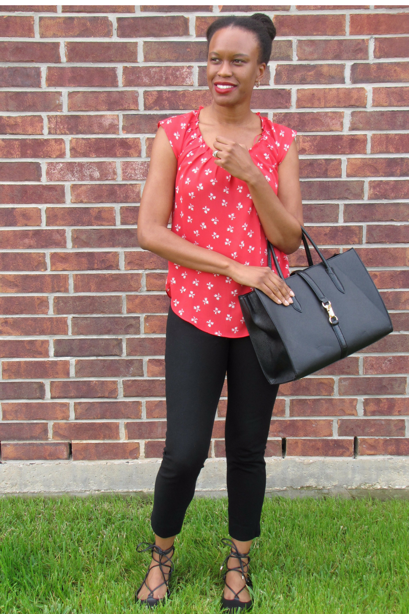 kohl's red top and banana republic black pants